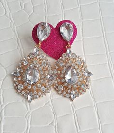 Fast Shipping using First Class Mail Most packages arrive in 2-5 business days!  Amazing sparkling Rhinestone Earrings  Perfect for formal occasions and holiday parties About 2.5 X 1.5