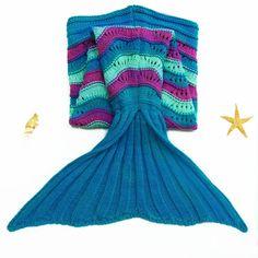 Cute Sea Wave Pattern Mermaid Shape Knitted Blanket For Children