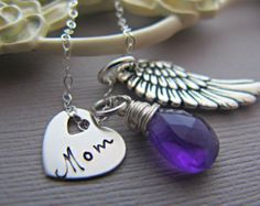 remembrance necklace, Custom Heart Pendant, Angel Wing, Personalized Birthstone, Gift For Friend, Gift For Mom, Mothers, Necklace Card ADD AN INITIAL TAG- Initial tags are only available in sterling silver and 14k Gold filled https://www.etsy.com/listing/290659111/add-an-initial-to-your-order-available?ref=shop_home_listings   NECKLACE DETAILS Show your special someone special 1 Sterling floating heart charm 1 Sterling Plated Angel Wing 1 Gemstone color of choice wrapped in sterling silver…