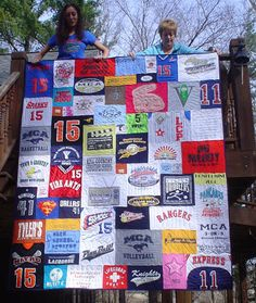Cant wait to make the boys one of these...T-Shirt Quilts.  I have been collecting camp, race, place T-shirts of theirs for the last 3 years... couple more years and I should be able to knock out the first quilt. :-)