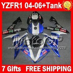 Купить товар7 подарки + для YAMAHA YZFR1 04 05 06 синий FIMER переводные YZF 1000 P101108 YZF1000 YZF R1 04 06 YZF R1 2004 2005 2006 горячий синий черный обтекателя в категории Щитки и художественная формовкана AliExpress.                              Удостоверение личности aliexpress: MotoGP