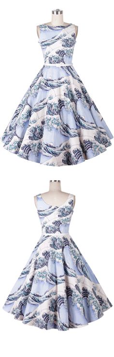 New fashion in 2016-Women vintage print a line dress in light blue.This dress is featured in sleeveless ,boat neck & black blet in waist. So fantastic!