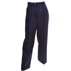 Preowned Yves Saint Laurent Ysl Vintage Trousers High Waisted Pants... ($395) ❤ liked on Polyvore featuring pants, white, vintage high waisted pants, white pants, red pants, lightweight pants and high-waisted trousers