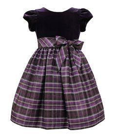 Look at this #zulilyfind! Eggplant Plaid Velvet Dress - Toddler & Girls #zulilyfinds