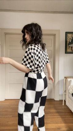 Laurs Kemp Checkered Silk Patchwork Pants | Garmentory Black And White Fabric, Black White, Patchwork Fabric, Lounge Pants, White Fabrics, Trousers Women, Black Pants, Printed Matter, Silk