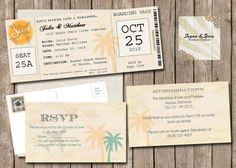 Ticket Wedding Invitation Set Destination by SugSpcInvitations