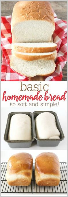 Basic Homemade Bread - the best, most fluffy loaf of homemade white bread! Tastes so much better than store bought! Basic Homemade Bread - the best, most fluffy loaf of homemade white bread! Tastes so much better than store bought! Homemade White Bread, Homemade Breads, Best White Bread Recipe, White Bread Recipes, Fluffy White Bread Recipe, White Bread Machine Recipes, Best Homemade Bread Recipe, Basic White Bread Recipe Bread Machine, Homemade Food