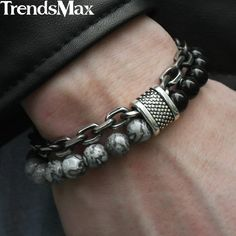 mens jewelry Trendsmax Natural Map Stone Mens Beaded Bracelet for women Stainless Steel Bracelets Male Jewelry Tiger eye 8 9 10 inch Bracelets Diy, Fashion Bracelets, Fashion Jewelry, Male Jewelry, Mens Silver Bracelets, Jewelry For Men, Fashion Earrings, Cool Mens Bracelets, Gemstone Bracelets