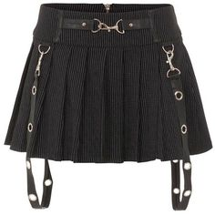Jawbreaker Insanity rok met wit stiksel detail zwart (€40) ❤ liked on Polyvore featuring bottoms and skirts