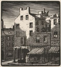 Thomas Willoughby Nason (American, 1889-1971), Old Boston Houses, 1925, wood engraving