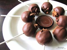 Reese's peanut butter cake pops.  No recipe, but should be easy enough to come up with one.