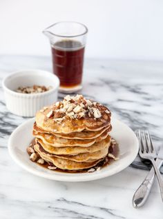 Vegan Banana Hazelnut Pancakes- a perfect addition to your next weekend brunch!
