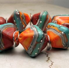Handmade Lampwork Glass Bead Set, Apricot, Coral, Turquoise with Silver Droplets, Made to Order, StoneDesignsbyShella