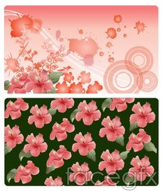 Flowers and ink design vector