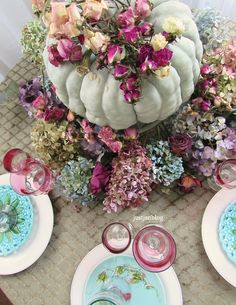 You can say no to traditional colors for your Fall table. The big light green pumpkin tells you right away we are in the Fall season. The green tablecloth is anchoring the table with it's l… Fall Home Decor, Autumn Home, Christmas Decorations, Table Decorations, Centerpieces, Green Tablecloth, Midsummer Dream, Drying Roses, Green Pumpkin