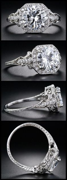 2.17 Carat 'D' color diamond Edwardian style engagement ring. Via Diamonds in the Library.