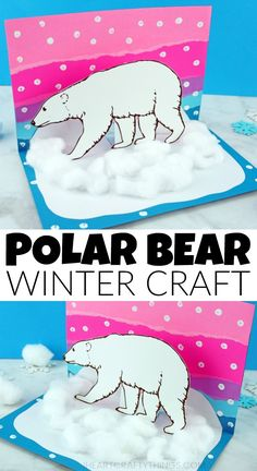 This awesome pop-up polar bear craft idea is a great winter craft for kids and it goes along great with an arctic animals unit. Animal Crafts For Kids, Winter Crafts For Kids, Paper Crafts For Kids, Winter Kids, Easy Crafts For Kids, Projects For Kids, Art For Kids, Kids Diy, Craft Activities