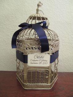 Champagne Bird Cage Wedding Card Holder / Navy Side Bow / Wedding Card Box Birdcage / Vintage Style