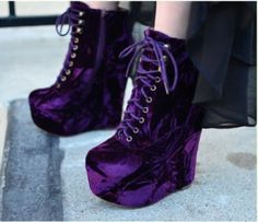 shoes purple shoes platform shoes lace shoes accessory is part of Velvet shoes - Dream Shoes, Crazy Shoes, Me Too Shoes, Purple Wedges, Purple Shoes, Mode Rockabilly, Galaxy Shoes, Galaxy Converse, Converse Chuck