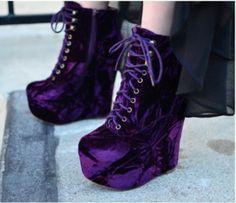 shoes purple shoes platform shoes lace shoes accessory is part of Velvet shoes - Purple Wedges, Purple Shoes, Dream Shoes, Crazy Shoes, Heeled Boots, Shoe Boots, Ankle Boots, Mode Rockabilly, Galaxy Shoes