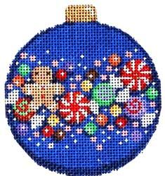 Gingerbread Confetti Ball Ornament (hand painted needlepoint canvases)
