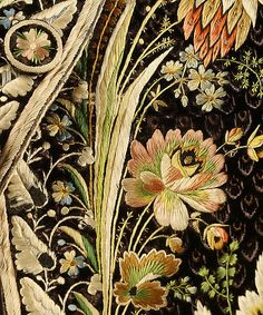 Detail embroidery, court coat, probably France, 1775-1785. Brown silk velvet, lavishly embroidered with naturalistic flowers in coloured silk.