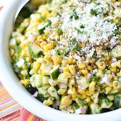 Mexican Street Corn Salad with Cucumbers (Dairy Free) – Simply Whisked Mexican Street Corn & Cucumber Salad Chicken Salad Recipes, Veggie Recipes, Mexican Food Recipes, Vegetarian Recipes, Dinner Recipes, Cooking Recipes, Healthy Recipes, Broccoli Recipes, Rib Recipes