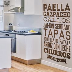 Kitchen Wall Sticker Gastronomy of Spain. Spain is known worldwide for its gastronomy. Foodie Quotes, Kitchen Wall Decals, Restaurants, Kitchen Collection, Food Lists, Thanksgiving, Budget, Wall Murals, Wall Stickers