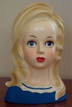 TEEN 7 Inch Blonde VINTAGE Lady Head Vase
