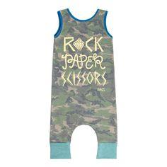 Rags To Raches | 'Rock, Paper, Scissors' Camo Tank Romper