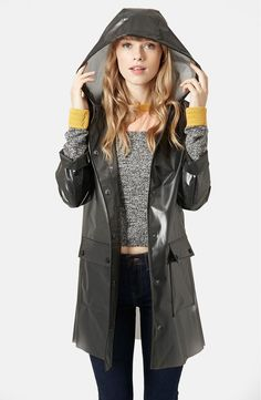 Main Image - Topshop Frosted Plastic Rain Jacket (Brit Pop-In)