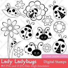 Lady Ladybug  Digital Stamps by pixelpaperprints on Etsy
