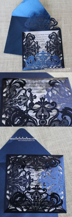 Navy blue laser cut wedding invitations, elegant laser cut wedding invitations, laser cutting wedding cards, vintage laser cut invites www.cweddinginvitations.com
