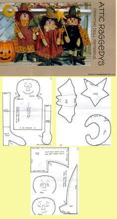 Trio of witch's pattern Moldes Halloween, Halloween Sewing, Manualidades Halloween, Fall Sewing, Halloween Quilts, Halloween Doll, Fall Halloween, Halloween Crafts, Primitive Doll Patterns