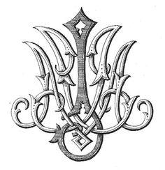 stunning gothic vintage monogram