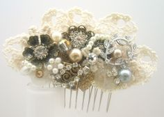 Gold Hair comb -Bridal hairpiece in Champagne, Ivory and Lace. Vintage hairclip,  Wedding hair Accessories - Lace Hair Comb. $57.00, via Etsy.