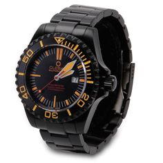 """The Midnight Zone Diver's Watch - Hammacher Schlemmer - This Swiss-made diver's watch can descend to the dark """"midnight"""" zone of the ocean—more than a mile below the sea."""