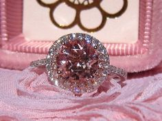Valentines Day Sale... Peachy Pink Morganite Engagement Ring, White and Rose Gold Double Diamond Halo Engagement Ring