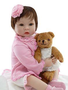 "87.65$  Buy now - http://aliqra.worldwells.pw/go.php?t=32787427170 - ""22"""" reborn baby dolls pink princess girl dolls lifelike newborn bbabies silicone baby dolls for kids gift baby bonecas reborn"""