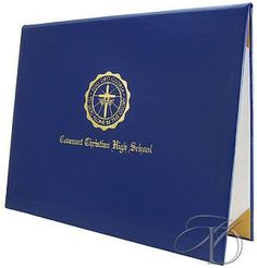 8.5 x 11 Padded Diploma Cover - 'Soli Deo Gloria' Crest Design and 1 Line of Custom Text