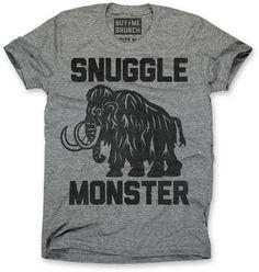 Snuggle monster.  Ultrasoft grey triblend crewneck t-shirt.