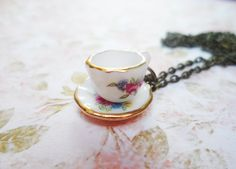 Brass teacup and saucer necklace, antique style brass and porcelain jewellery, Selma Dreams vintage inspired jewelry by SelmaDreams on Etsy