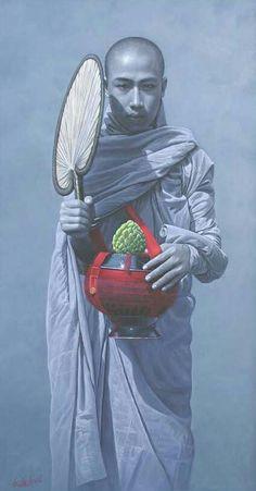 沙彌繪畫 緬甸畫家 Aung Kyaw Htet (4) (Buddha art monk paintings)