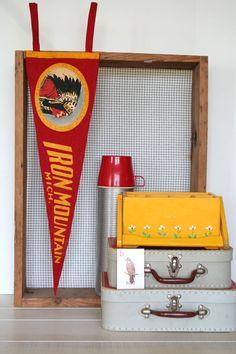 vintage felt pennant souvenir iron mountain, michigan native american AWESOME. $12.00, via Etsy.