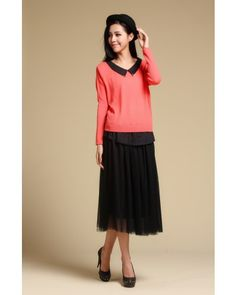 Pulse Bat Sleeve Doll Collar Chiffon Splicing Sweater - Sweaters - apperal Indressme$41.40