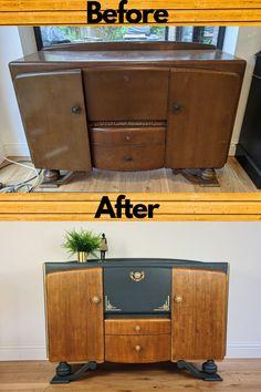 Art Deco Furniture, Vintage Furniture, Painted Furniture, Diy Furniture, Recycling Furniture, Upcycled Furniture, Chalk Paint Projects, Vintage Sideboard, Drinks Cabinet