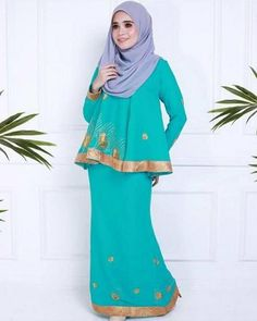 Kurung Peplum, Chiffon Saree, Light Turquoise, Teal Green, Beaded Embroidery, Bridesmaid, How To Wear, Color, Outfits