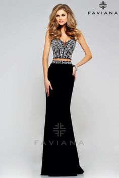 Faviana Formal two-piece prom or homecoming dress with a Beaded Sweetheart Corset #ipaprom