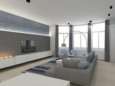 Woonkamer interieur met haard en houtopslag zwart keukeneiland