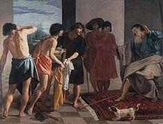 Diego Velasquez La tunique de Joseph, (1630, l'Escurial). Les frères de Joseph montrent la tunique sanglante de celui-ci à leur père bouleversé.